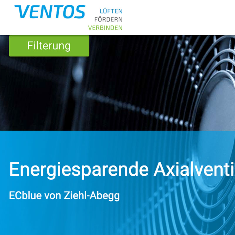 Webdesign of the Ventos website